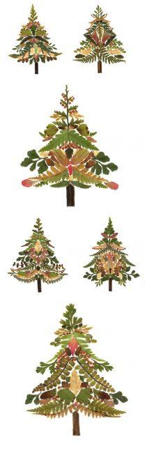 Красивые елочки, которые можно с помощью одного материала сделать по-разному