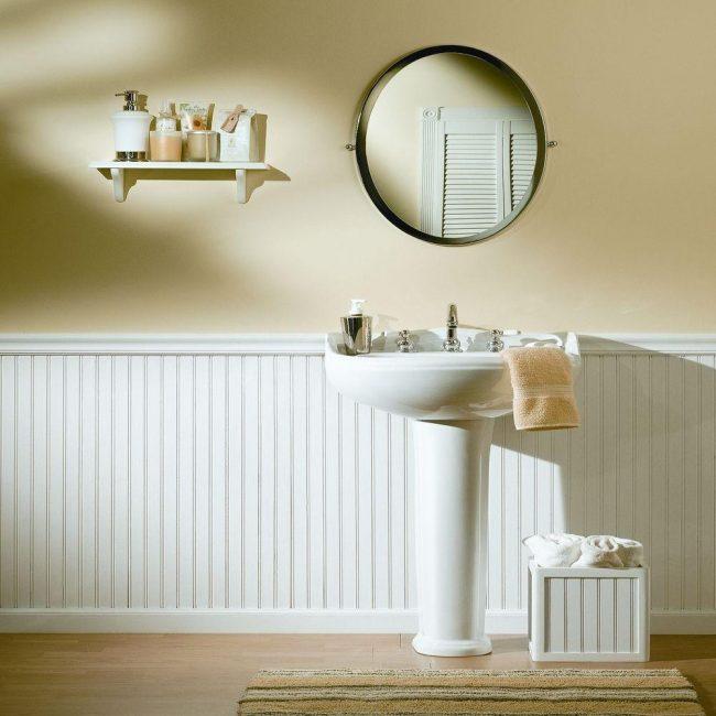 Нежный и очень мягкий интерьер ванной комнаты