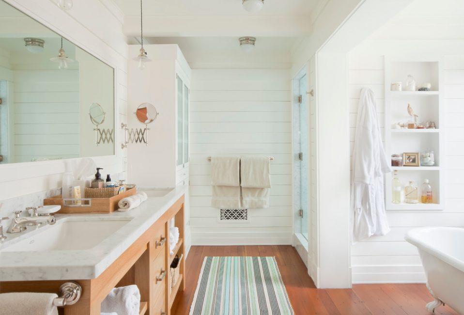 Вагонка в отделке ванной комнаты