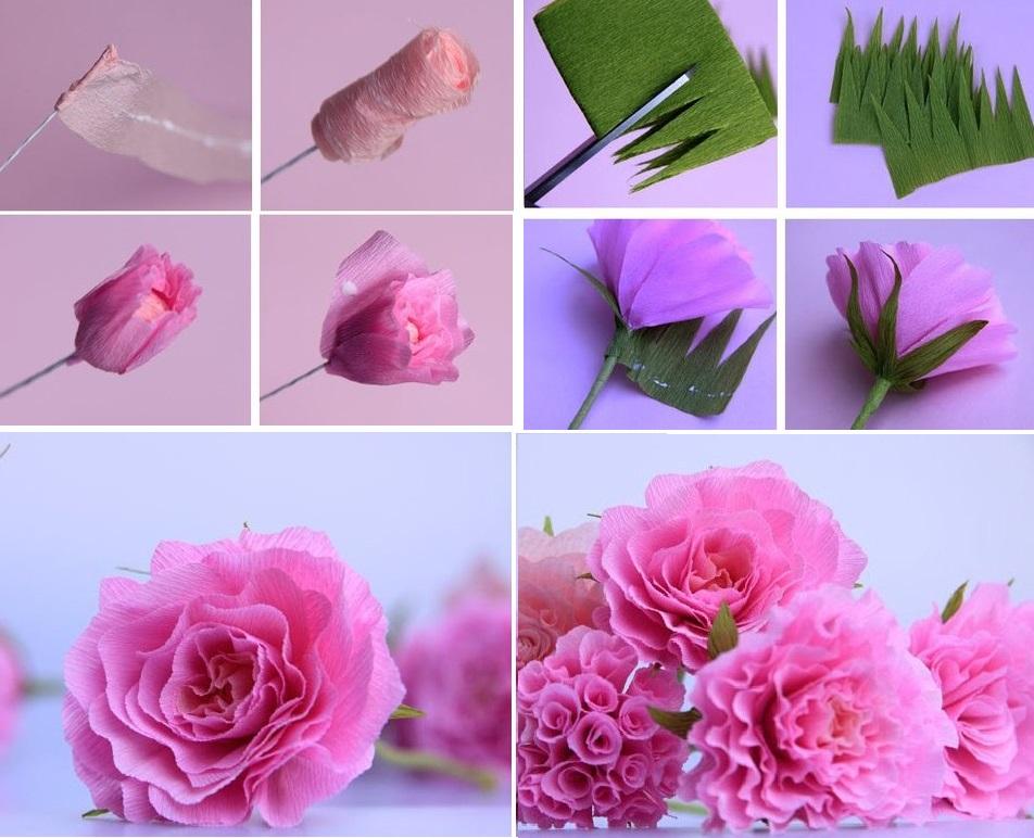 Роза из гофрированной бумаги своими руками поэтапно