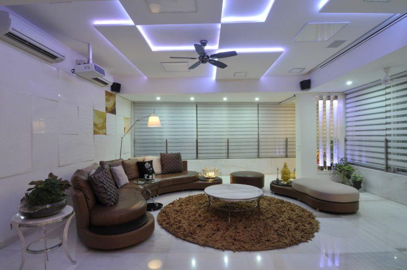 Красивый потолок из гипсокартона в зале (подвесной, двухуровневый, фигурный, с подсветкой) + 80 ФОТО