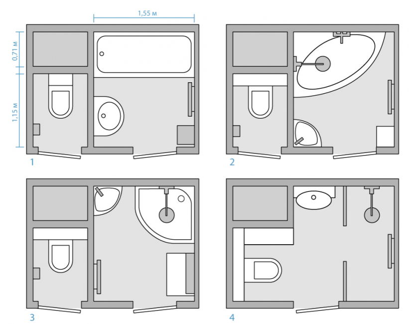 Варианты планировки маленькой ванной комнаты