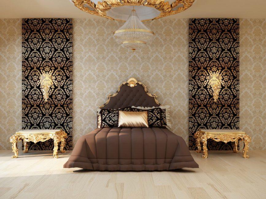 Драпировка тканью в интерьере спальни