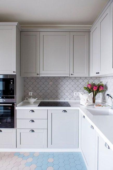 Пастельные оттенки в интерьере кухни