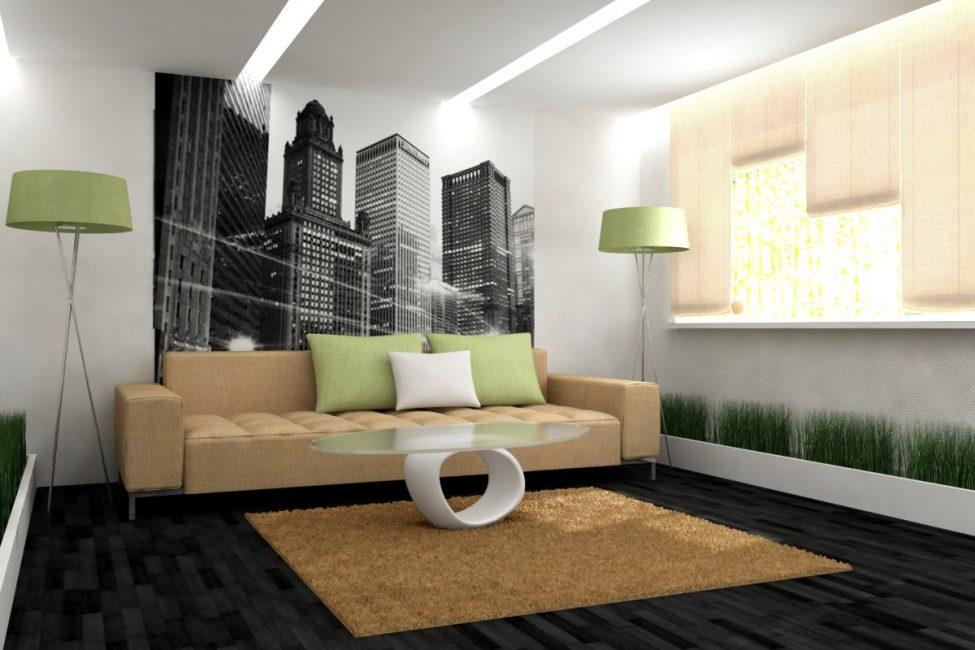 Использование подсветки потолка в гостиной