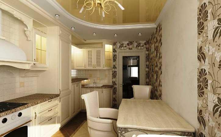 Оклейка стен комбинированными обоями в кухне