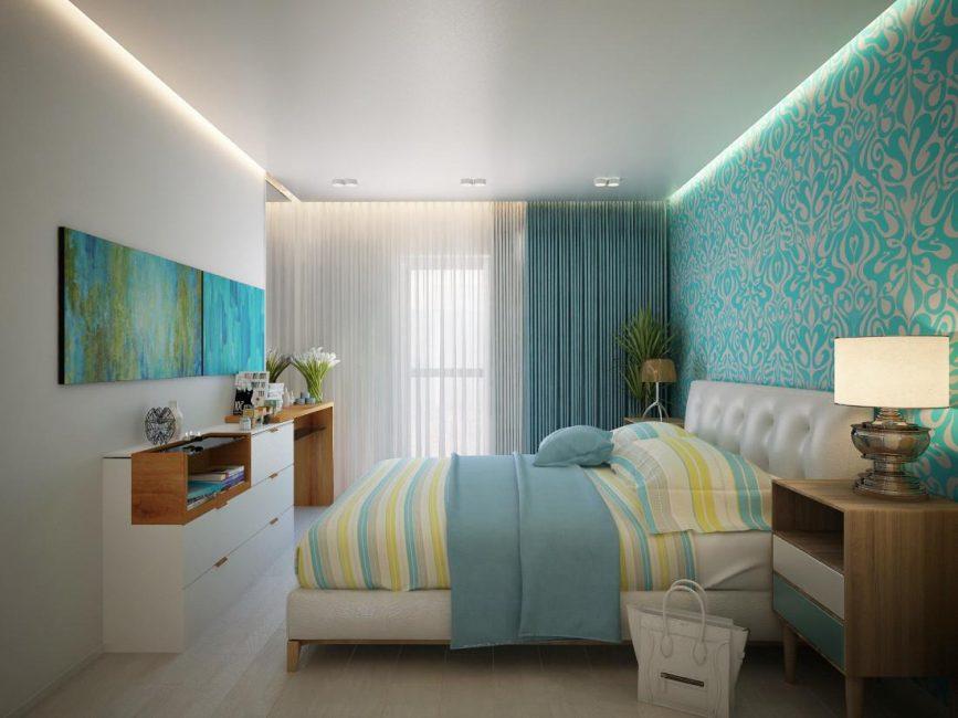 Спокойная гамма в спальном помещении