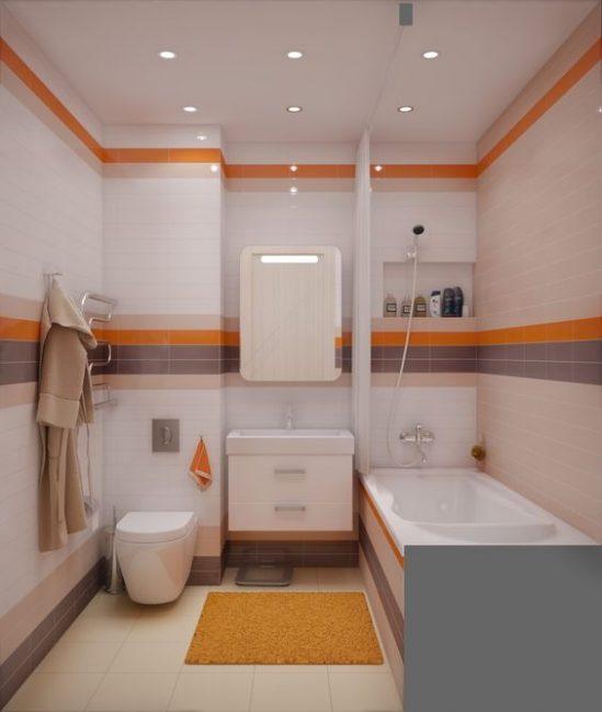 Приглушенный оранжевый и фиолетовый в интерьере ванной