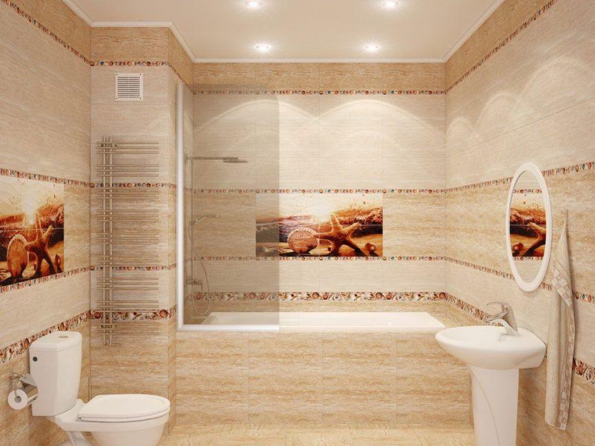 Модный песочный в отделке стен ванной