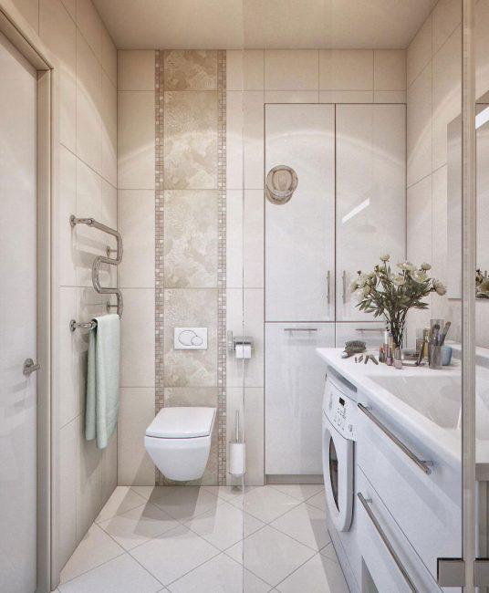Светлое решение для маленькой ванной