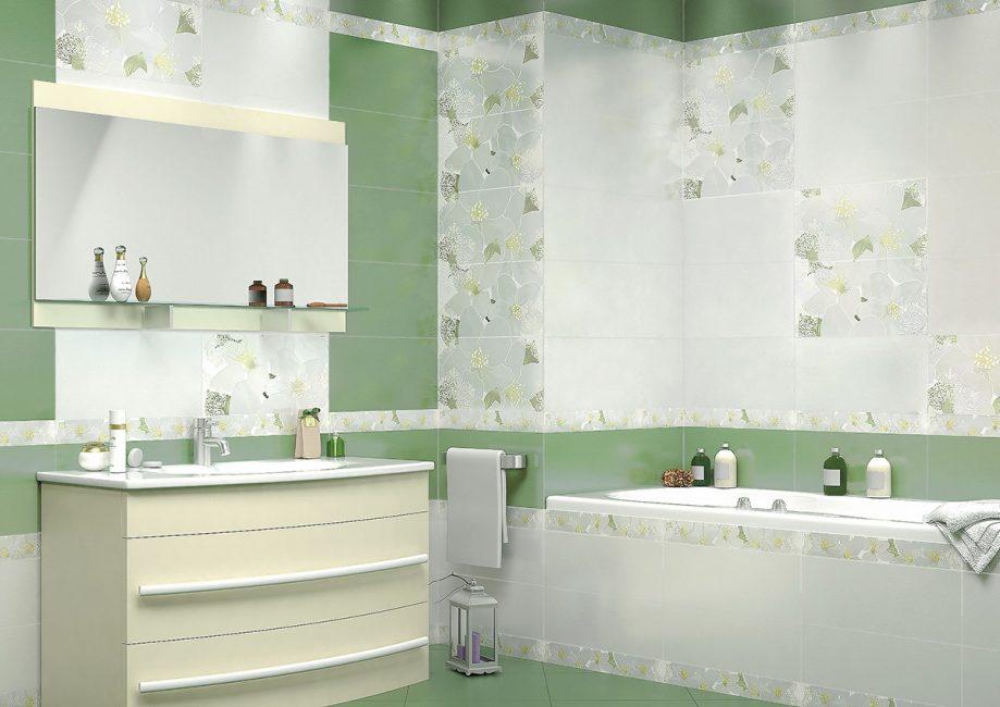 Приглушённый зеленый в интерьере ванной