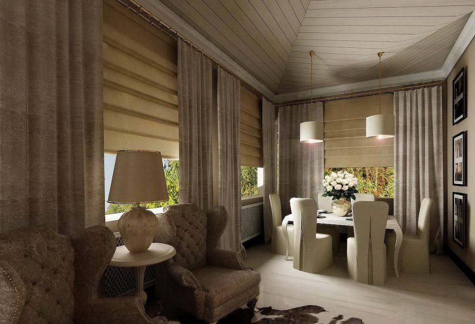 Римские шторы + обычные вертикальные