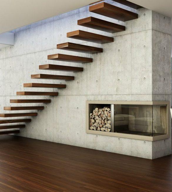 Расстояние между ступенями делает лестницу визуально легкой