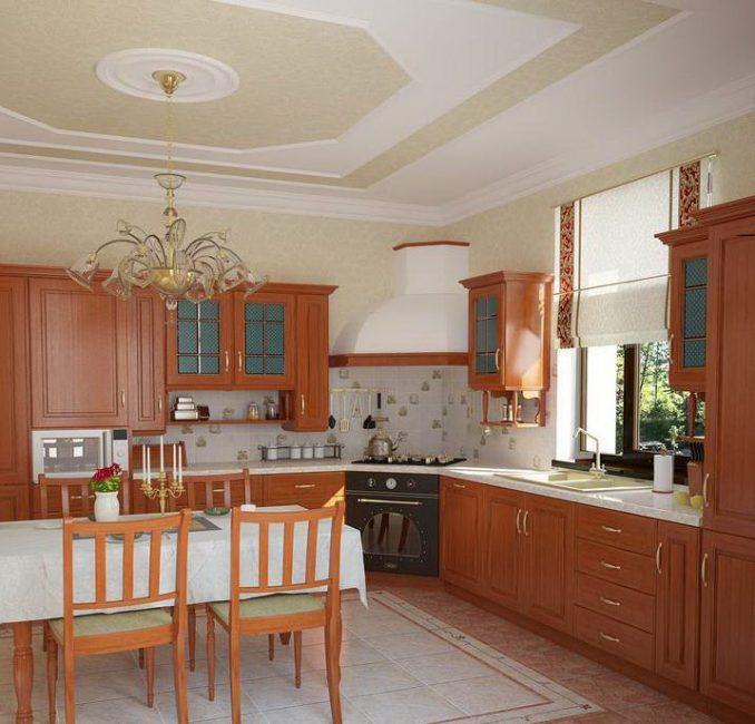 В больших кухнях рекомендуют расположение шкафов максимально по-разному