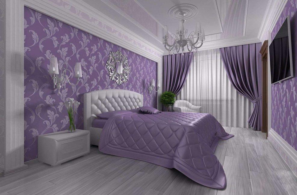 Сиреневый цвет, подчеркнутый текстилем в один тон