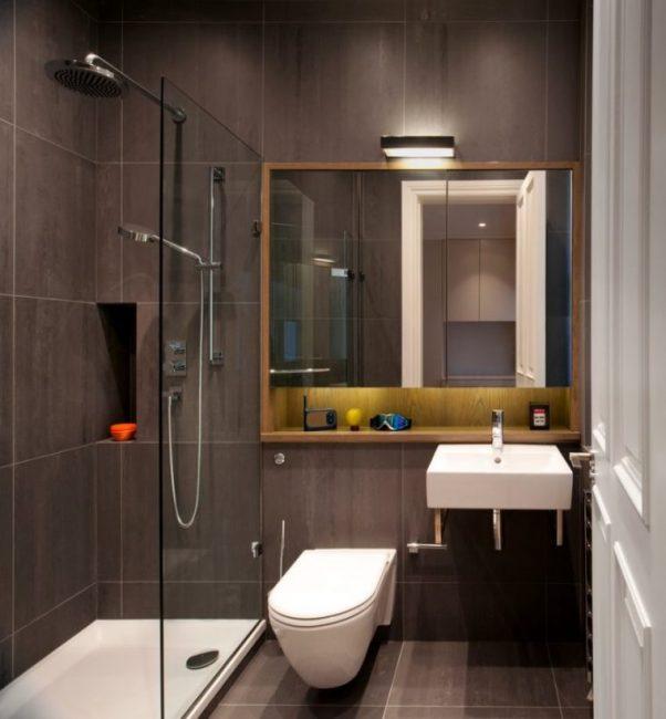 Стильная небольшая ванная комната