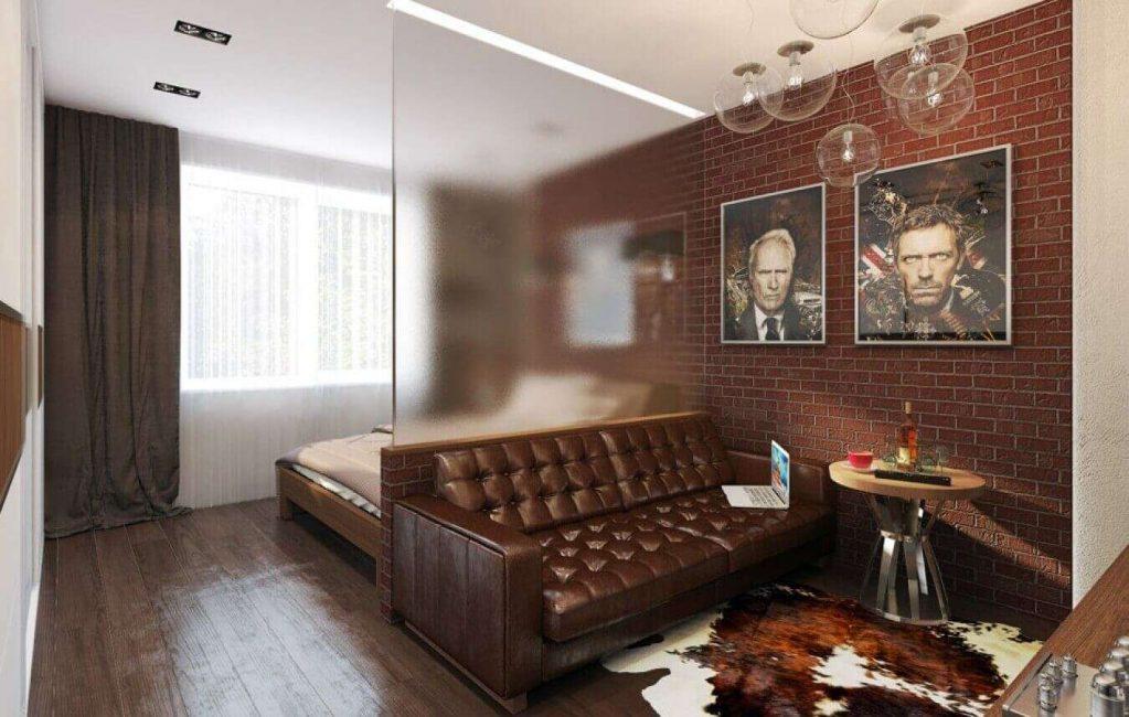 Отличным решением поделить комнату может стать перегородка