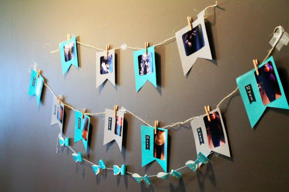 Отличная идея - украсить стену семейными фотографиями