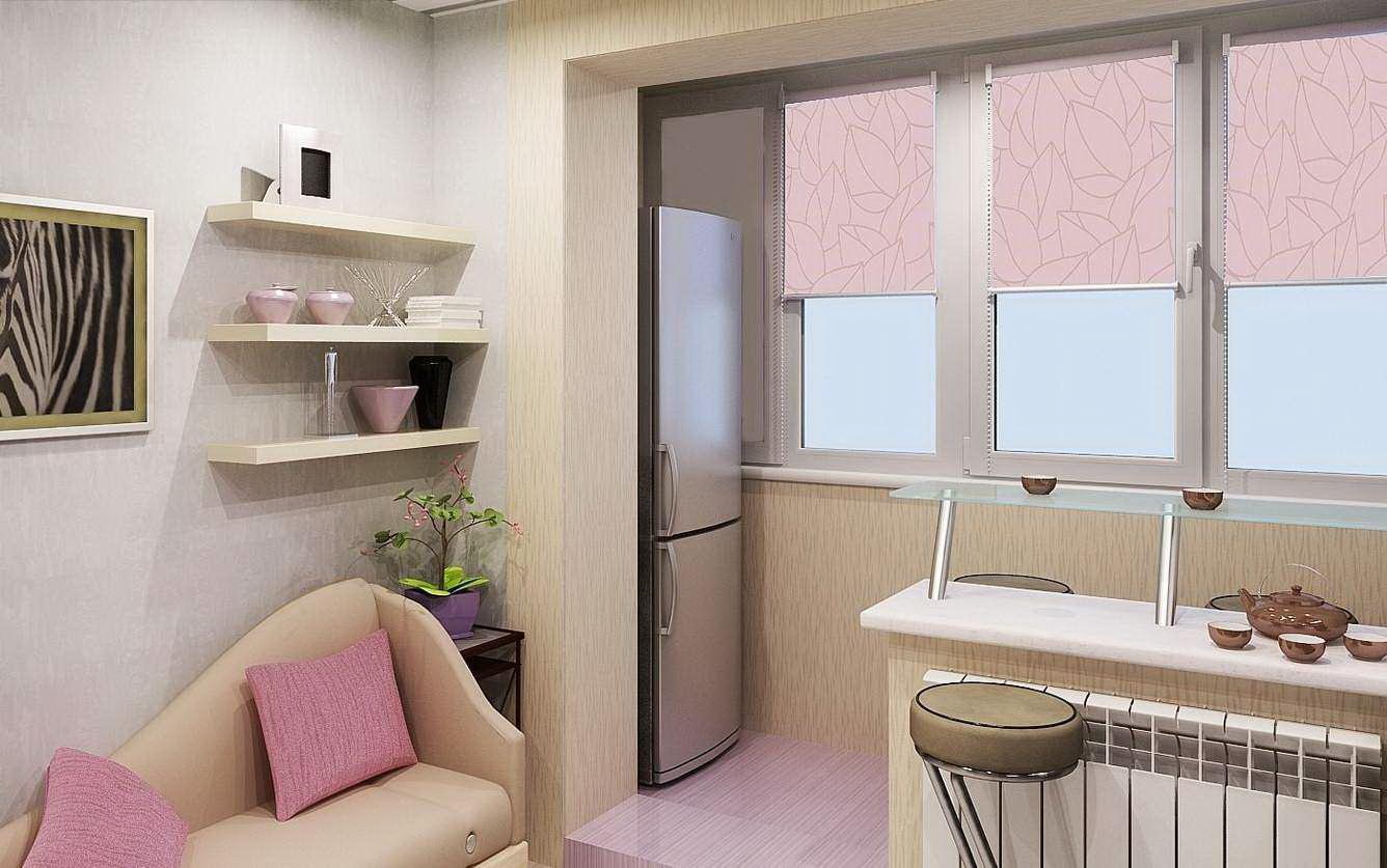 Балкон совмещен с кухней гроднопромстрой.
