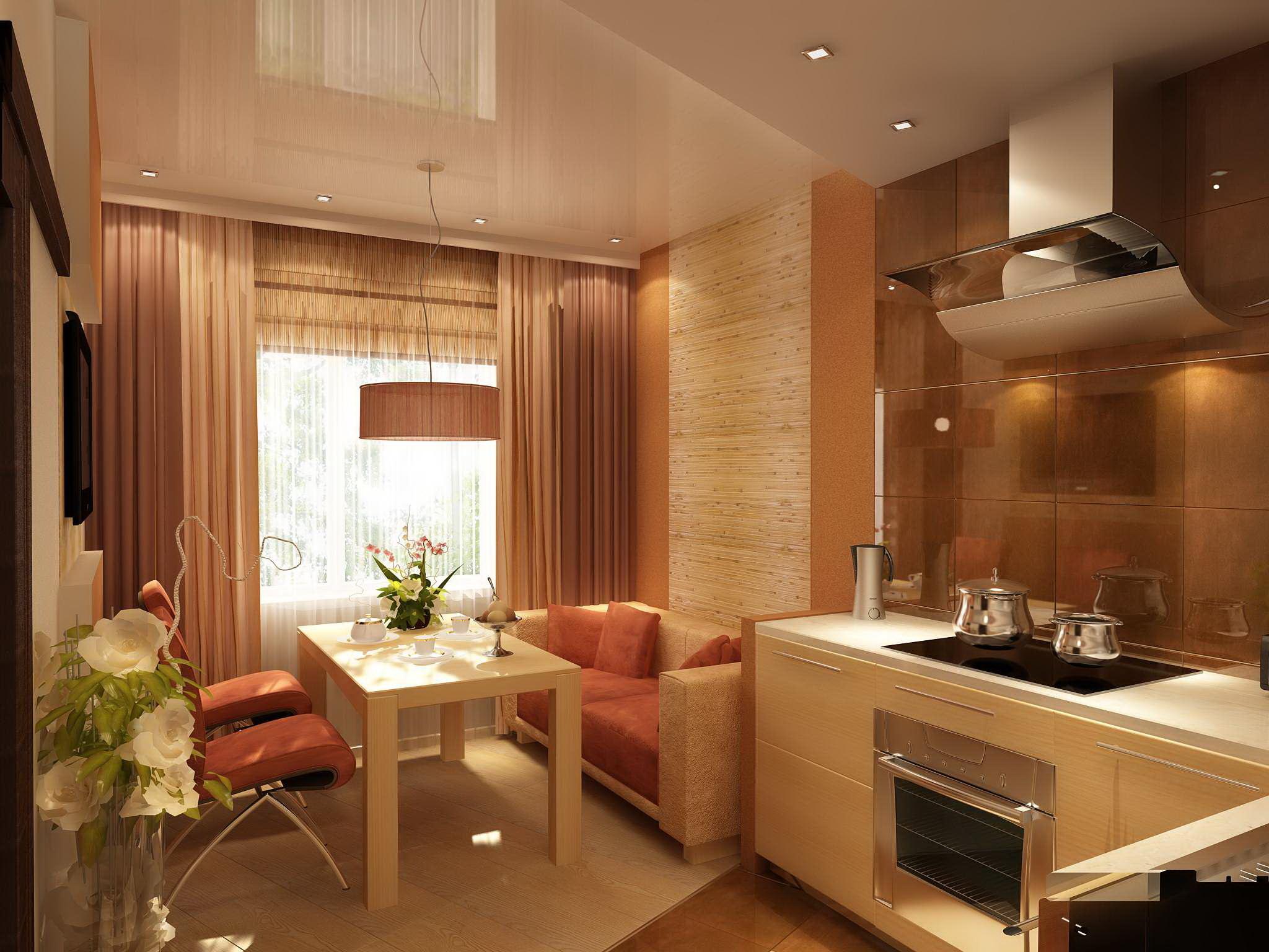 Дизайн кухни гостиной 25 квм с одним окном с зонированием
