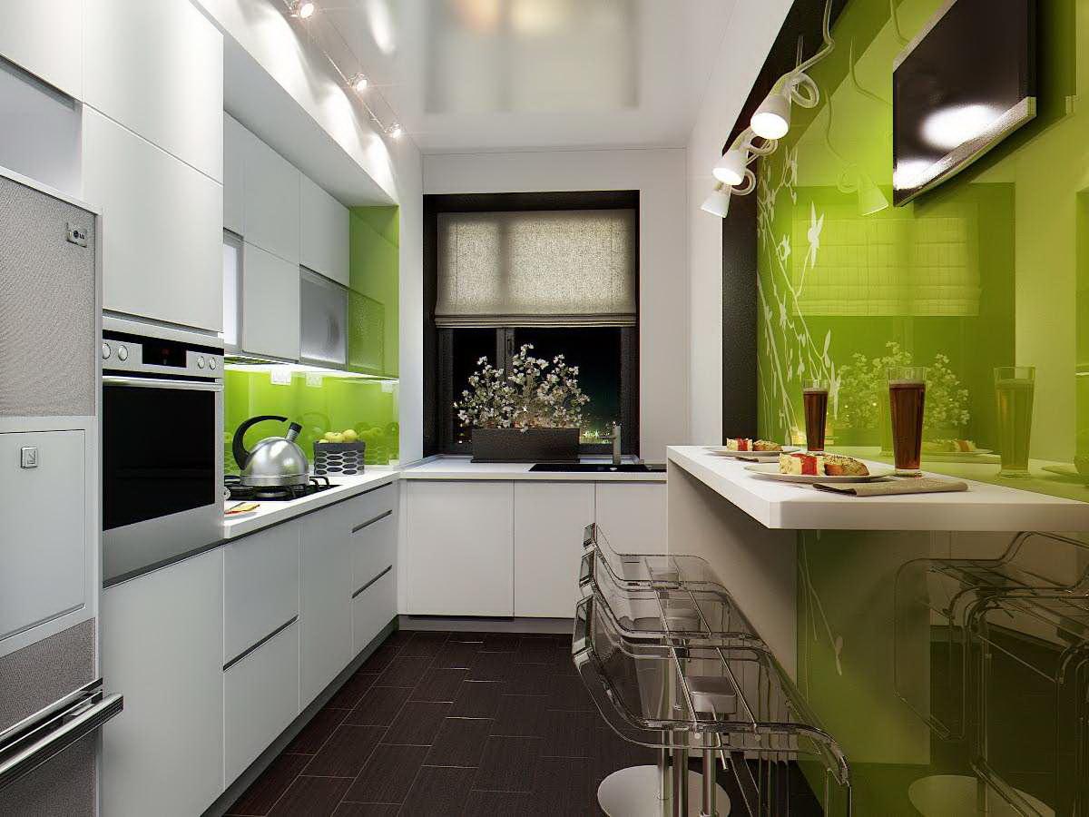 Дизайн узкой кухни - 40 фото примеров интерьера.