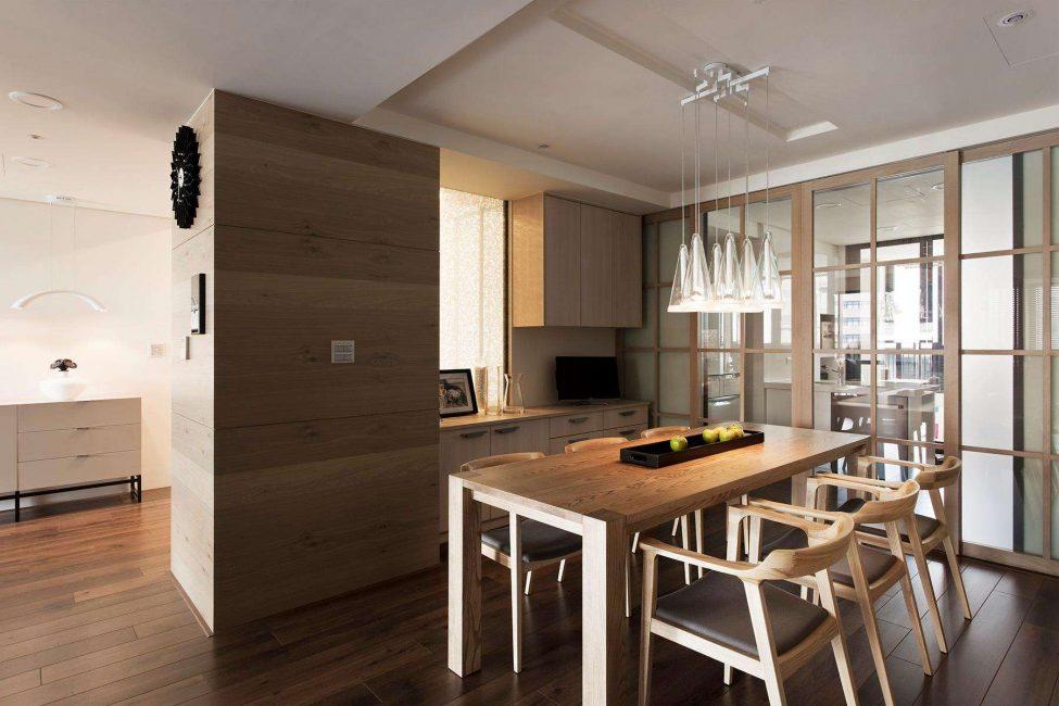 Увеличиваем пространство гостиной за счет уменьшения территории кухни