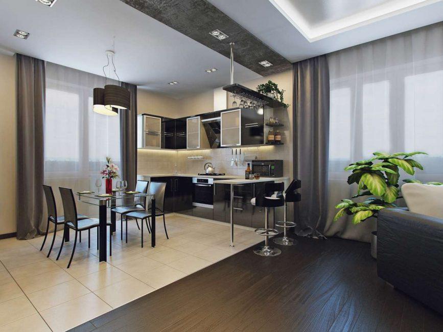 Однорядный вариант расстановки мебели