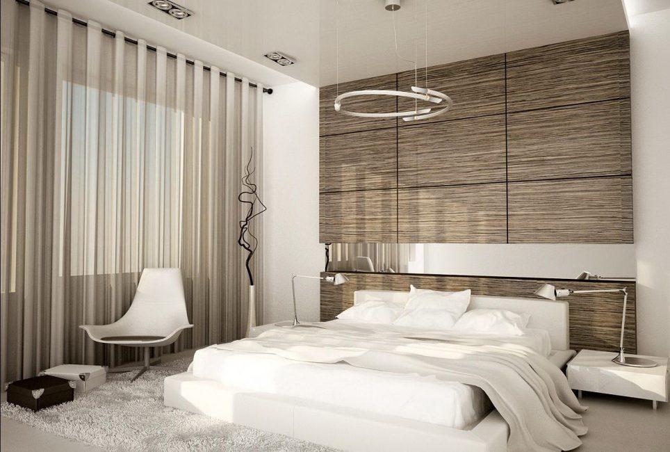 Изысканность в спальне, оформленной ламинатом