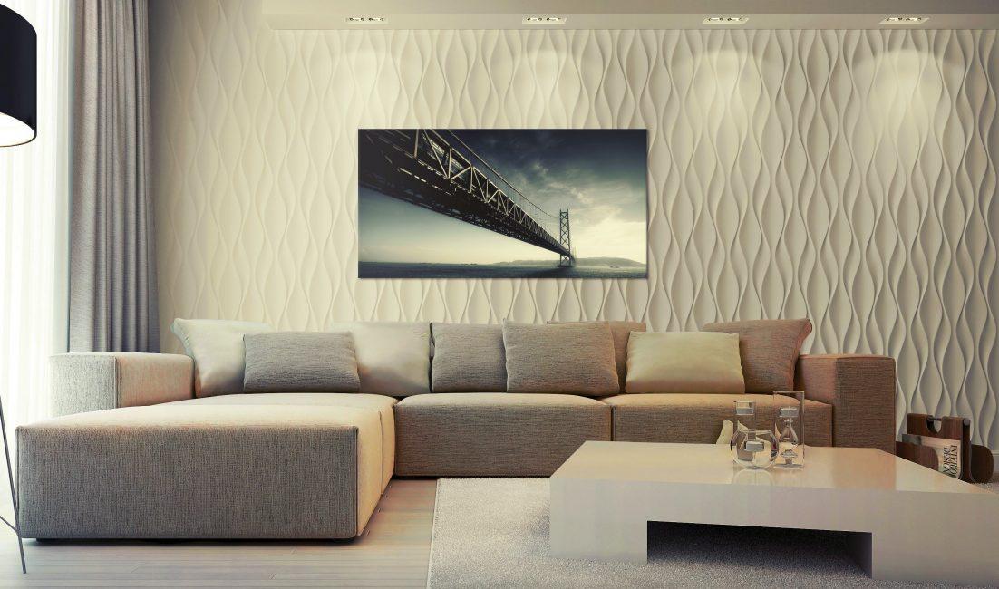 Акцентом для стены является картина или телевизор