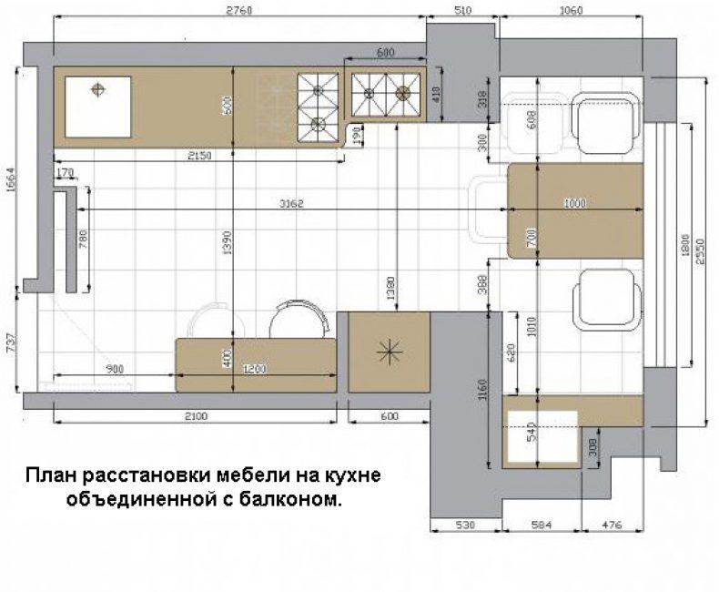 Схема объединения и расстановки мебели