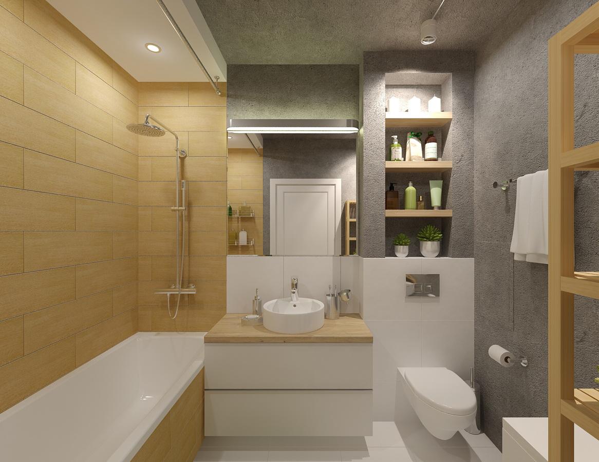 Совместный туалет с ванной дизайн 6 метров