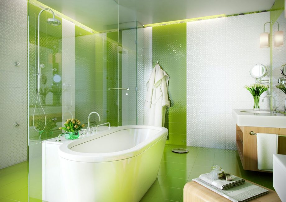 С помощью ярких цветов ванная превращается в уютный уголок