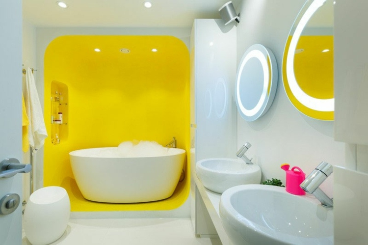 Дизайн ванной два цвета