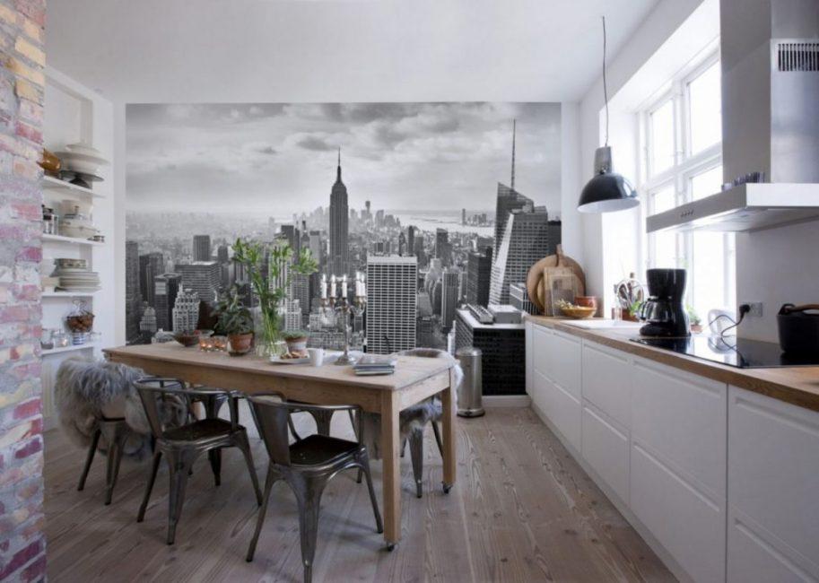 Трехмерная картинка делает маленькую кухню визуально больше