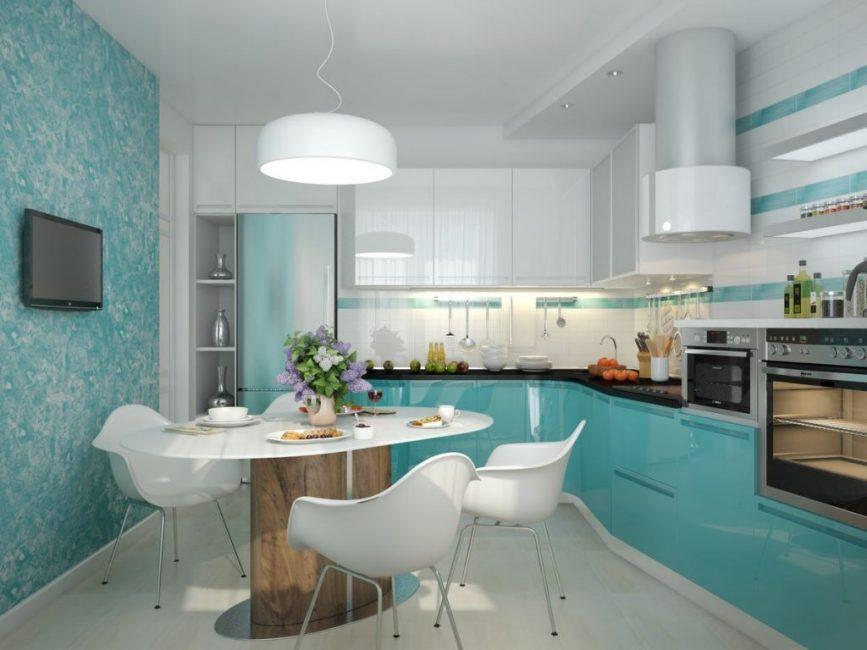 Дизайн в холодных тонах для кухни