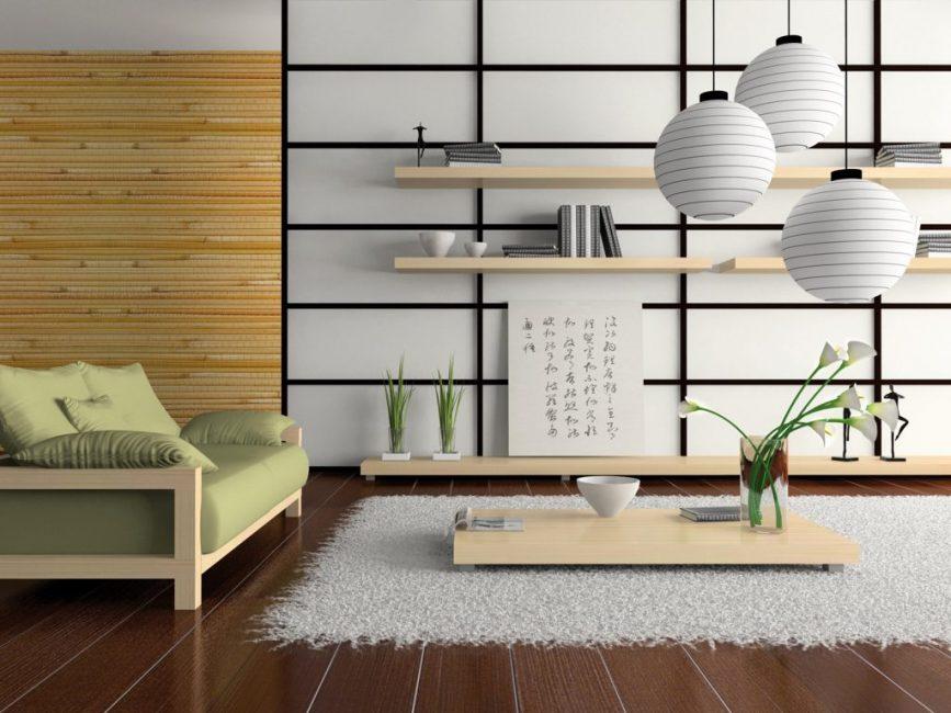 Украшение бамбуком интерьера