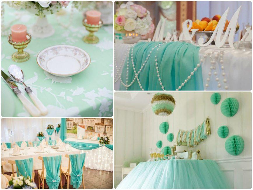 Элементы декора для мятной свадьбы