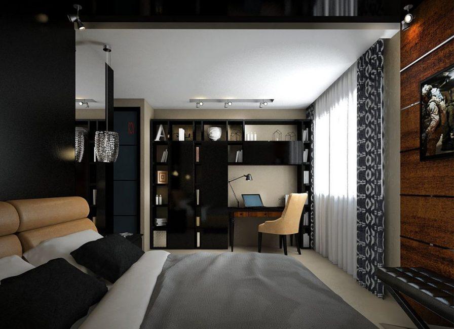 Зонирование спальни и кабинета при помощи цвета