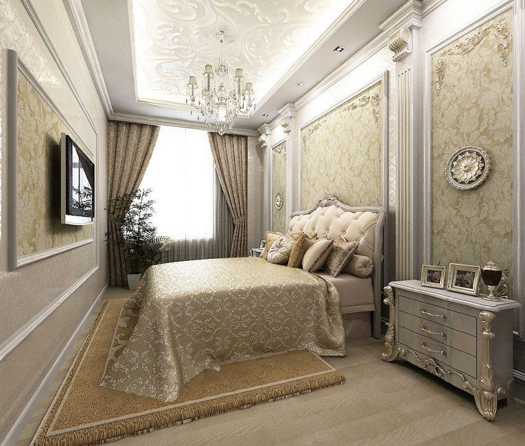 Классический стиль в маленьком помещении лучше оформить в светлом оттенке