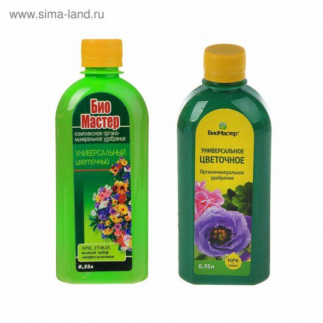 Выпускается в жидкой форме и имеет широкий ассортиментный ряд средств, предназначенных для разных видов комнатных растений.