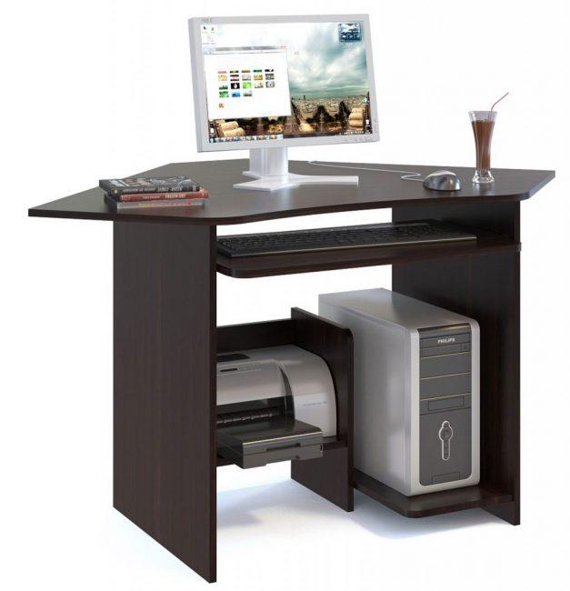 Угловой компьютерный стол с нишей под системный блок