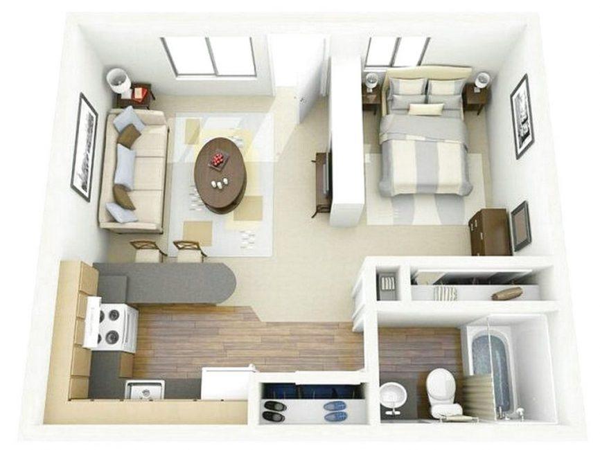 Виртуальная планировка однокомнатной квартиры