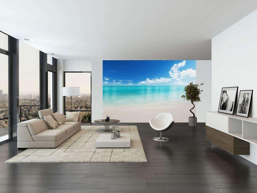 Морской пляж для гостиной