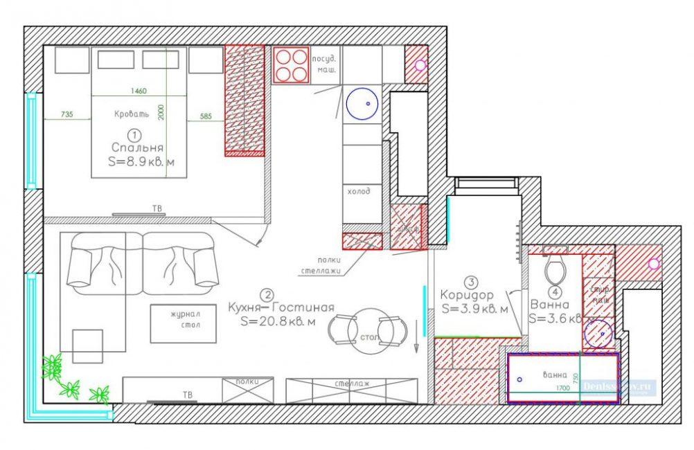 Схема планировки однокомнатной квартиры