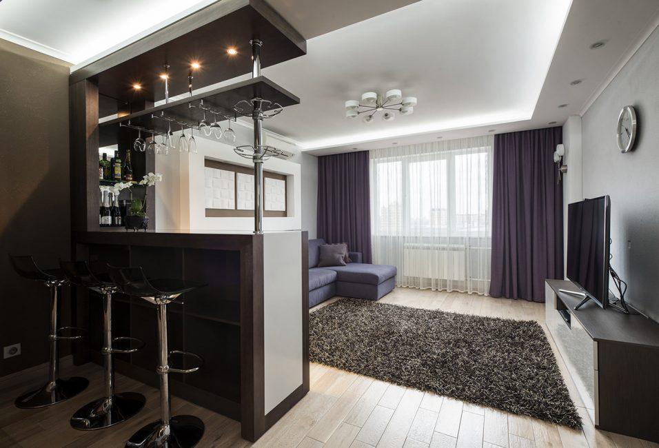 Подсветка для барной стойки в помещении кухни и гостиной