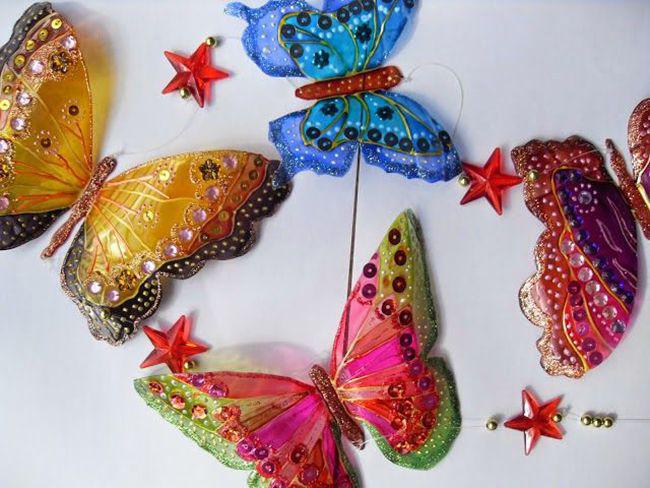 Украсьте бабочки, используя акриловые краски и бисер