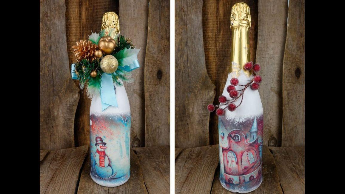Создавайте декор для бутылки из разных материалов