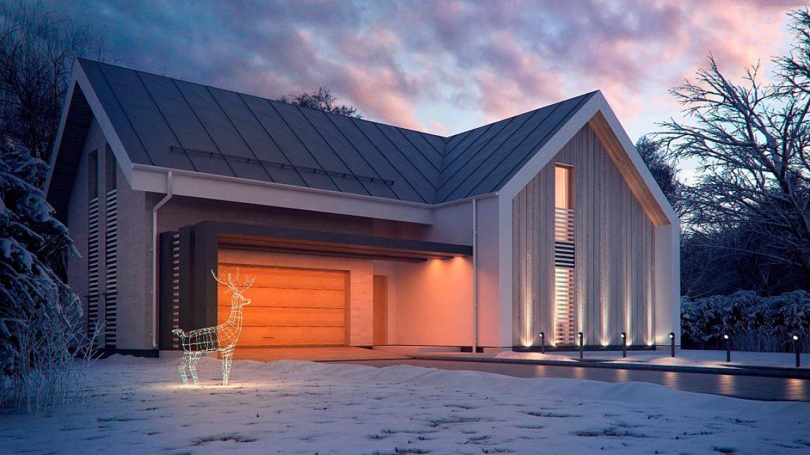 Гараж, встроенный в дом, выдержан в едином стилистическом ключе