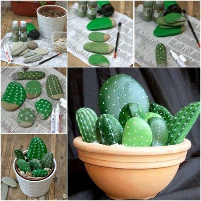 """Раскрасьте камни в виде кактусов и """"посадите """" в горшок"""