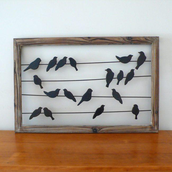 Силуэты птиц на проводах украсят вашу стену